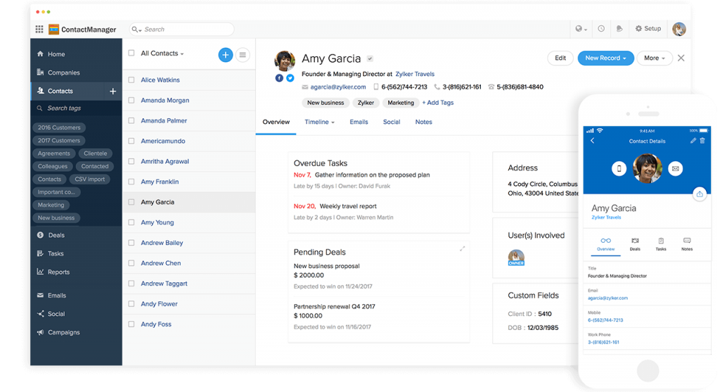 Zoho Contact Manager - Online contact management software