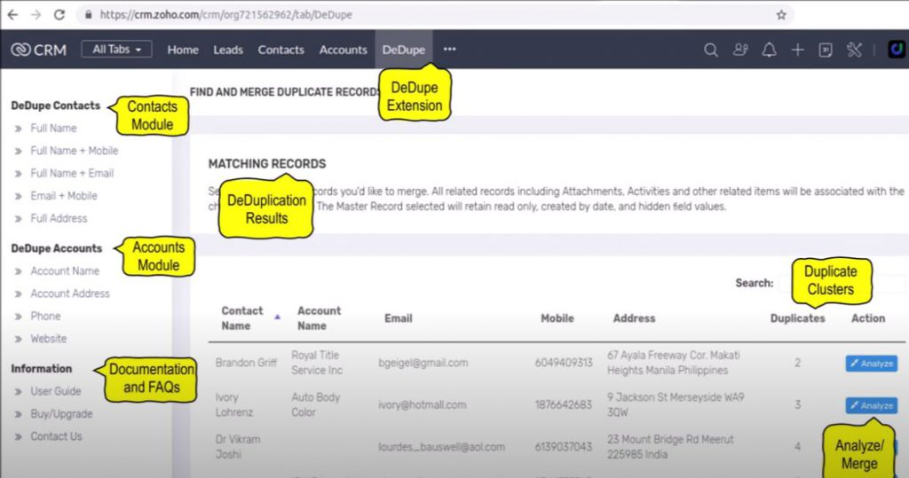 Zoho CRM Extension - Duplicate Records